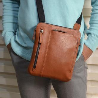 Мягкая кожаная мужская сумка(рыжая)