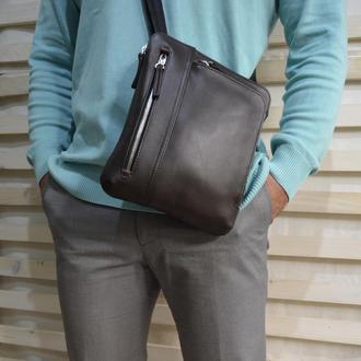 Мягкая кожаная мужская сумка(тёмно-коричневая)