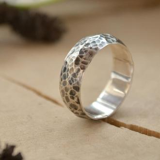 Серебряное кованое кольцо