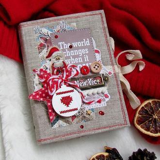 Зимний, новогодний блокнот ручной работы. Купить оригинальный подарок