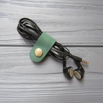 Кожаный зажим для наушников_зеленый_30