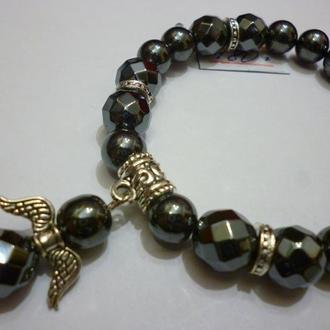 """Браслет из натурального лечебного камня с алмазной огранкой гематит """"Гематитовый ангел"""", 10 мм."""