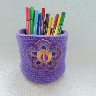 Вязанная декоративная подвесная корзинка для мелочей