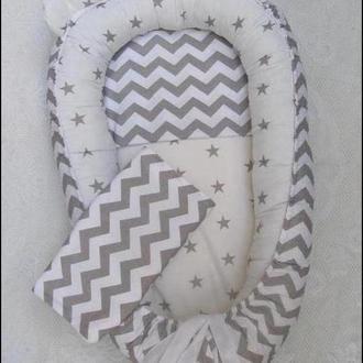 Маленькая мягкая кроватка (бебинест) – уютное гнездышко позиционер для новорожденного малыша