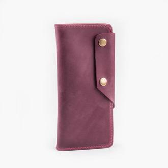 Кожаный портмоне марсалового цвета