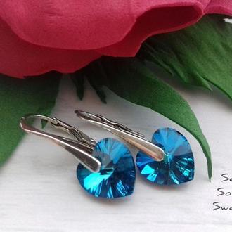 Серебряные серьги с сердечками Сваровски