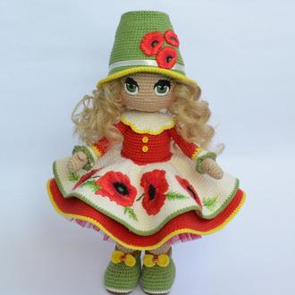 Интерьерная Кукла с маками (кукла вязаная крючком)