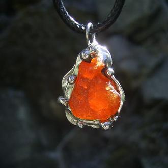 кулон Гранатовый, самородок оранжевого граната, посеребрение, олово, медь