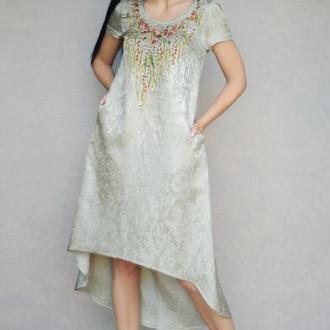 """Платье свышивкой """"Оливковый сад"""" платье из жаккарда, нарядное платье, золотое платье"""