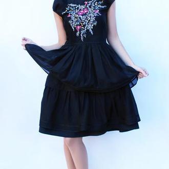 """Нарядное черное платье с вышивкой """"Дивный букет"""" платье вышиванка, вышитое платье"""