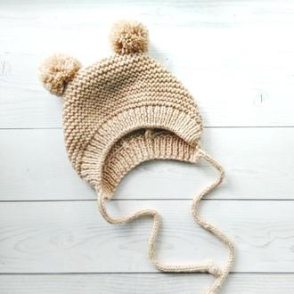 Вязаная шапочка-чепчик для новорожденных