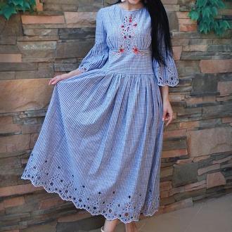 """Платье с вышивкой """"Цветочная россыпь"""" платье, хлопковое платье"""