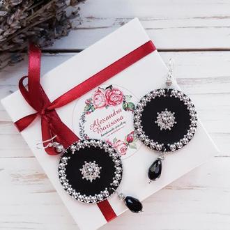 Черные круглые серьги с кристаллами Сваровски и хрусталем. Праздничные серьги.