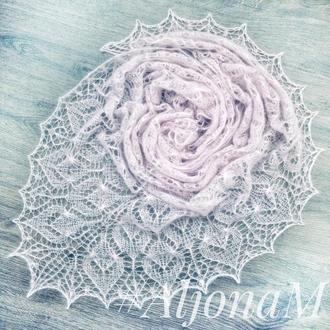 Ажурная шаль Розовая Нежность ручная работа