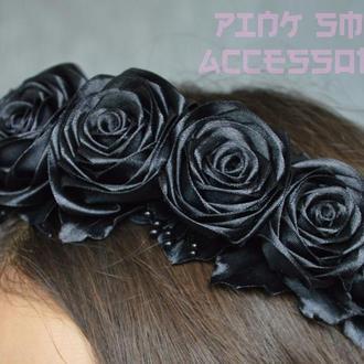 Готический обруч с чёрными розами