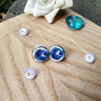 """Сережки з мікровишивкою """"Сині рози"""""""