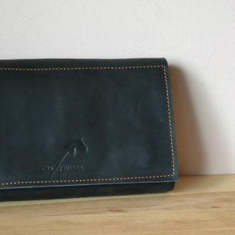 Клатч кошелёк из натуральной кожи Crazy horse. Натуральная кожа.