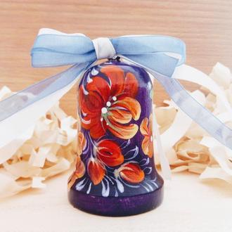Елочное украшение - колокольчик фиолетовый