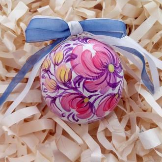 Новогодняя игрушка, деревянный белый елочный шар с ручной росписью