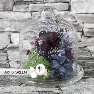 Мини-колба со стабилизированными растениями и розой «Dark dream»