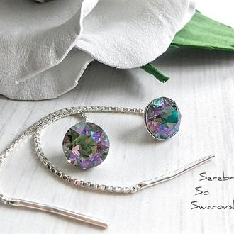 Серебряные гвоздики - протяжки с кристаллами Сваровски