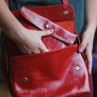 """Шкіряна сумка з гаманцем """"CrossBody"""" від «pan Krepko»"""