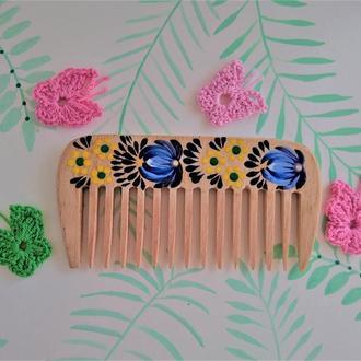 Деревянная расческа, гребень для волос с редкими зубьями Ромашка