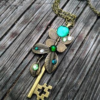 Капли утренней росы - кулон ключ в стиле фентези вариант бронза (в наличии 1 шт)