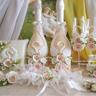 """Свадебный набор """"Лебединая верность"""" в золотых тонах."""