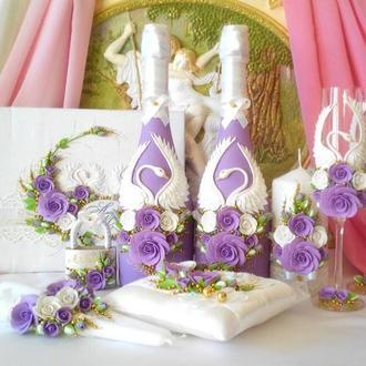 """Свадебные свечи """"Лебединая верность"""" в сиреневых  тонах."""