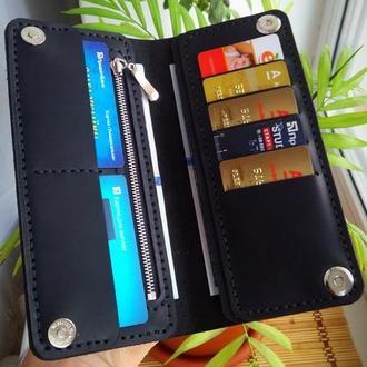 Мужское портмоне, кожаний кошелек, бумажник с отделом на молнии из кожи