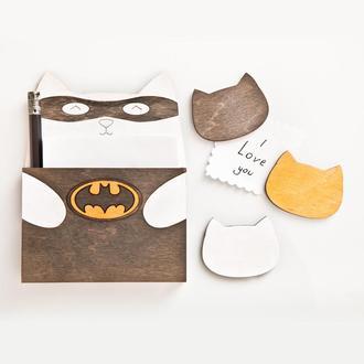 Бэтмен кот магнит на холодильник, Подарок девушке, Блок для записей