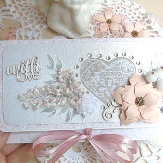 Серебристо-пудровый свадебный конверт