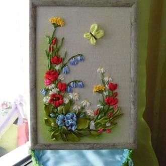 """Картина """"Полевые цветы"""" формата А4, вышивка атласными лентами по льну."""