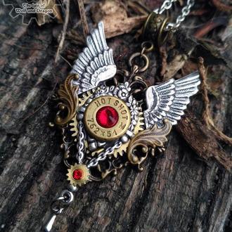 Крылья - винтажный стимпанк кулон с элементом гильзы Winchester (в 20 числах декабря  в наличии)