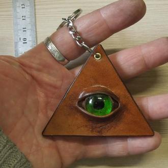 """Брелок """"Глаз Гора"""" ( Всевидящее око) №1. Натуральная кожа."""