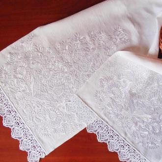 Белый рушник для венчания Свадебный рушник Рушник под ноги молодым