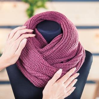Снуд шарф в два оборота пыльная роза 50%  шерсть