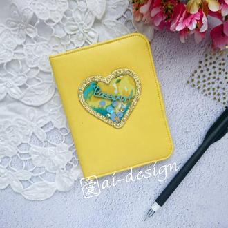 """Обложка на паспорт """"Желтый лимон"""" с шейкером"""