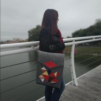 Рюкзак из войлок и кожи (с отделением под ноутбук), ручная работа