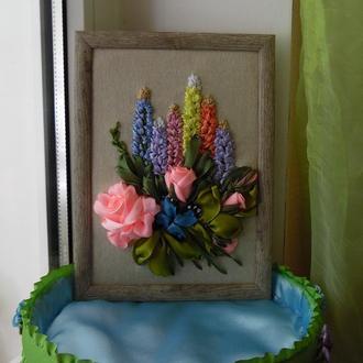 """Картина-миниатюра """"Розы и люпин"""" 15 на 21 см, вышивка лентами"""