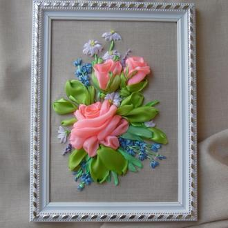 "Картина-миниатюра ""Розы и незабудки"" вышивка лентами, 15 на 21 см"