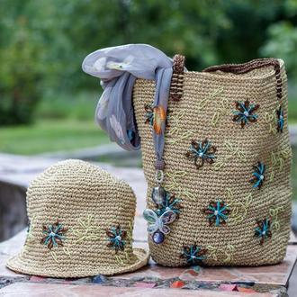 Летний комплект (сумочка и шляпка) ручной работы