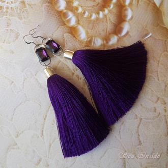 Сережки-кисті фіолетові з камінчиком (арт. 199)