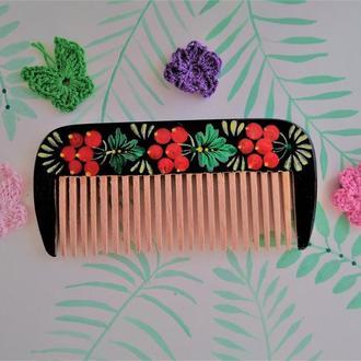 Деревянная расческа гребень для волос Калинка