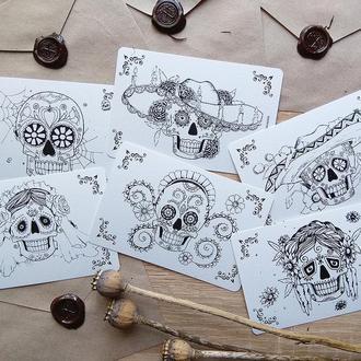 Набор открыток-раскрасок Día de los Muertos/ Хэллоуин листівки розмальовки