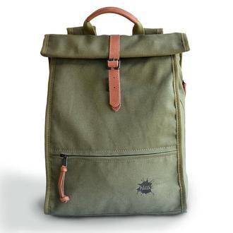 Tesla g&c роллтоп городской стильный рюкзак из натуральной ткани, деловой рюкзак, хлопок с пропиткой