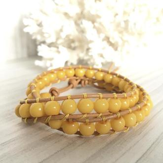 Желтый кожаный браслет в стиле Chan Luu