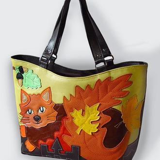 """Кожаная сумка """"Осенний кот"""""""