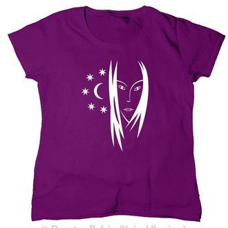 Женщина с луной. Эксклюзивная футболка. Авторская графика.